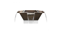The 30 inch square Madrid 4-way hammered copper fire & water bowl can be operated without the burner element!
