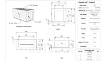 Pismo stainless steel gas fire pit 48 inch specs sheet