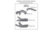Coastal Driftwood 18 inch vented gas log set parts diagram