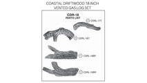 Coastal Driftwood 18 inch vented gas log set parts diagram