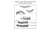 Coastal Driftwood parts diagram for 24 and 30 inch vented gas log sets