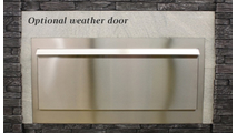 Optional weather doors are made from stainless steel (this fireplace requires 2 doors)