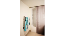 Escape and find serenity with this mesh shower curtain in Antique Bronze!
