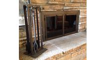 Black Rock Fireplace Tool Set with matching Black Rock Masonry Fireplace Door!