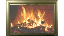 Overlap fit Bungalow Custom Masonry Fireplace Door in Vintage Brass artisan finish