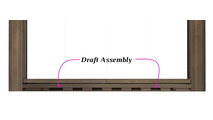 Draft assembly is configured into the aluminum frame of the Savannah fireplace door.