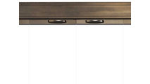 Beautiful comfort grip handles are mounted on top of the Savannah door frame