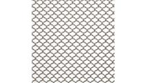 Serenity aluminum shower curtain shown in Brite Aluminum finish