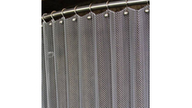 Brite Aluminum Serenity mesh shower curtain shown with optional ball hooks and curved shower rod