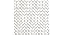 Serenity aluminum shower curtain shown in Brite Pearl Grey finish