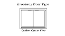 The Broadway Reveal masonry fireplace door cabinet style doors with center view glass panels