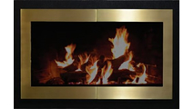 Broadway Reveal masonry fireplace door with Satin Black main frame and satin brass door frame