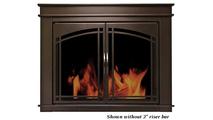 Farnworth masonry fireplace door shown without riser bar