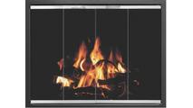 Foundation Prefab Fireplace Door in Matte Black shown in Textured Black main frame with Brite Nickel door frame