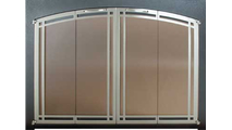 Ovation Fireplace Door with Satin Black main frame and Polished Nickel door frame with deco design