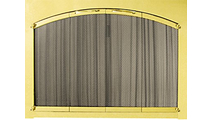 Ovation arch conversion masonry fireplace door in Polished Brass