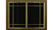 Ovation Masonry Fireplace Door: Textured Mocha main frame with Polished Brass door frame with window pane design