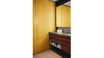 Luxurious texture and striking appearance! Serenity Mesh Shower Curtain in Satin Gold finish!