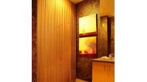 Satin Gold Serenity Mesh Shower Curtain