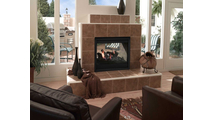 The Twilight II indoor outdoor gas fireplace is terrific for sunrooms and adjoining verandas!