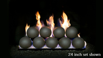 24 inch wide RealFyre 4 Inch Fyre Sphere Vented Contemporary Gas Set in Epic Black