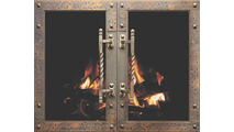 Ancient Masonry Fireplace Door in Vintage Copper with exclusive Architectural handles