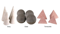 All Geo Shapes can be ordered in ivory, slate, or terracotta colors.