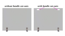 The Vanguard glass fireplace screen with modern feet comes with or without handle cut-outs