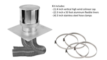 Co-linear direct vent system includes 3x3 inch stainless steel 4 inch vertical high wind chimney cap, two 3 in x 35 ft flex aluminum flex liners, four 3 in stainless steel hose clamps