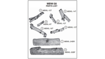 Individual log pieces for 30 inch Mountain Birch outdoor vented gas log set from Real Fyre