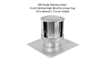 304 grade stainless steel 4 inch vertical high wind colinear cap for 4 in exhaust and 3 in intake