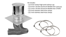 Co-linear direct vent system includes 4x3 inch stainless steel 4 inch vertical high wind chimney cap, a 3 in x 35 ft flex aluminum flex liner, a 4 in x 35 ft flex aluminum flex liner, two 3 in stainless steel hose clamps, two 4 in stainless steel hose clamps