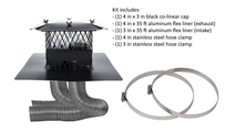 4 x 3 inch colinear direct vent system includes 4 x 3 inch black colinear cap, a 4 in x 35 ft and a 3 in x 35 ft aluminum flex liners, a 4 in and a 3 in stainless steel hose clamps