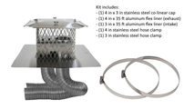 4 x 3 inch colinear direct vent system includes 4 x 3 inch stainless steel colinear cap, a 4 in x 35 ft and a 3 in x 35 ft aluminum flex liners, a 4 in and a 3 in stainless steel hose clamps