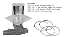 Co-linear direct vent system includes 4x3 inch stainless steel 4 inch vertical high wind chimney cap, a 3 in x 35 ft flex aluminum flex liner, a a 3 in x 5 ft flex aluminum flex liner, four 3 in stainless steel hose clamps