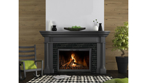 The Apex Masonry Fireplace Door installed (shown in Rustic Black)!