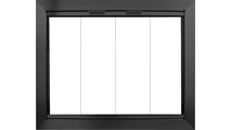 Avaleria 4 sided overlap fit Masonry Fireplace Door in Matte Black without draft assembly