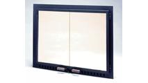 Fullview Air Seal Ceramic Glass Masonry Fireplace Door in Black