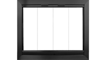 Avaleria 4 sided overlap fit Fireplace Glass Door in Matte Black with draft assembly