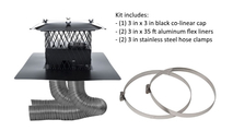 3 inch colinear direct vent system includes 3x3 inch painted black colinear cap, two 3 in x 35 ft flex aluminum flex liners, two 3 in stainless steel hose clamps