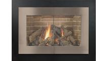 Saratoga masonry door shown in Matte Black main frame & Pewter door frame.Saratoga Masonry Fireplace Door in Matte Black powder coat main frame & Antique Steel premium finish door frame