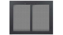 Colridge Air Sealed Ceramic Glass Fireplace Door in Matte Black with grey tempered glass