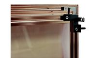 Yukon fireplace door mounting bracket - door shown in anodized Vintage Copper