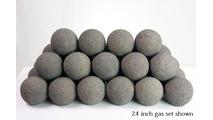 24 inch Pewter Alterna Rustic Fireballs Vented Gas Set