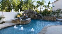 31 inch Ash Cazo Pool Fire Bowls in Poolscape Setting