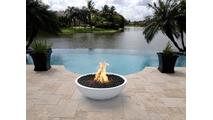 27 Inch Limestone Sevilla Fire Bowl in poolscape