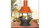 Malm 32 inch spin a fire wood burning fireplace shown with porcelain base