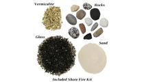 Included Shore Fire Kit is a mixture of sand, vermiculite, glass and rocks