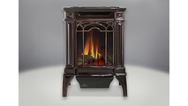 Arlington Direct Vent Gas Stove shown in Majolica Brown porcelain enamel finish