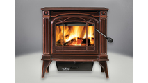 Banff 1100 Small Wood Burning Stove shown in Majolica Brown porcelain enamel finish